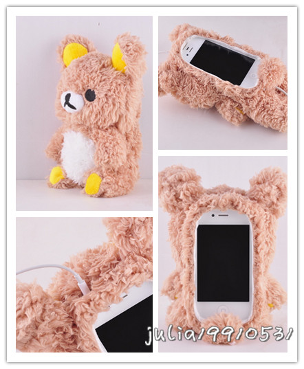 Cute 3D Teddy Bear Doll Toy Cool Plush Case Cover For Apple Samsung